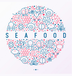 seafood concept in circle with thin line icons vector image