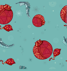 seamless pattern stylized pomegranate decorative vector image