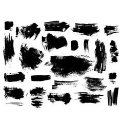Set black brushstrokes on white vector