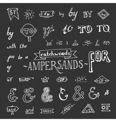 Set chalkboard style ampersands vector