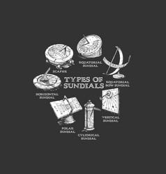 set different sundials vector image