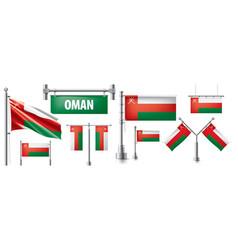 Set national flag oman in various vector