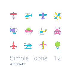set simple line icons aircraft vector image