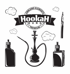 set vintage hookak and vape icons vector image