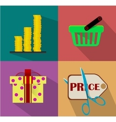 Shopping Flat icon set vector image