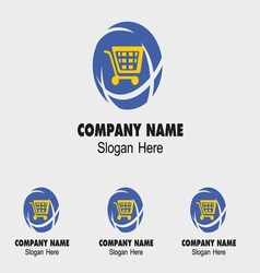 Shopping icon logo with Global design vector