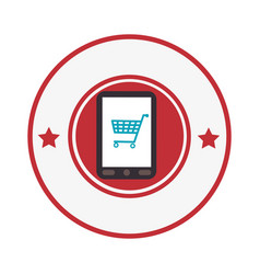 Smartphone device with cart shopping isolated icon vector