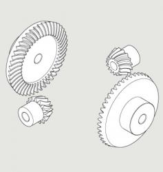 Spiral gear 15 45t left vector