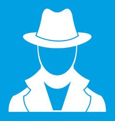 Spy icon white vector