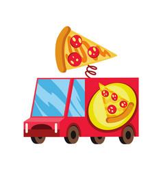 Street fast food mobile food car pizza fast food vector