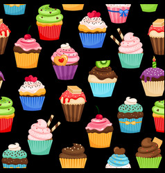 Sweet cupcakes pattern on black background vector