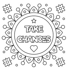 take chances coloring page vector image