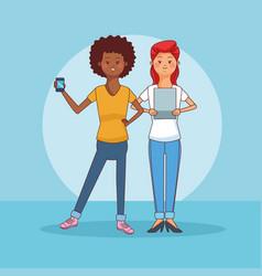Teenagers couple using smartphone cartoons vector