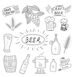 The set of hand drawn sketch of beer and home vector image