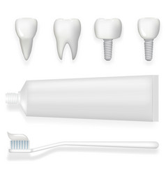 Tooth dental implant tube of toothpaste and vector