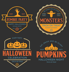vintage set happy halloween vintage badges vector image