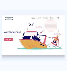 Wakeboarding website landing page design vector
