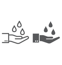 water drops in hand line and glyph icon ecology vector image