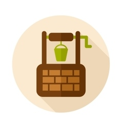 Water Well flat icon with long shadow vector image