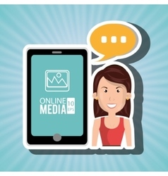 woman with cellphone isolated icon design vector image