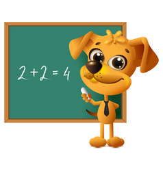 yellow dog teacher stands at blackboard math vector image