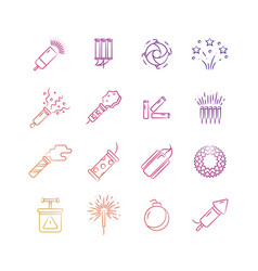 bright holiday pyrotechnic line icons vector image vector image