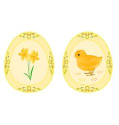 Easter eggs theme daffodil and baby chicken vector image vector image