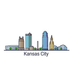 flat line kansas city banner vector image