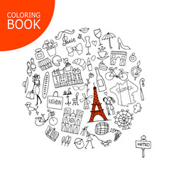 france travel sketch page for your coloring book vector image vector image