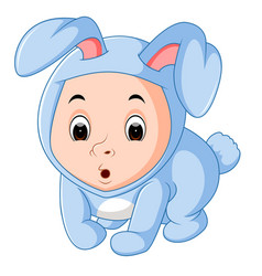 Little funny baby wearing rabbit suit vector