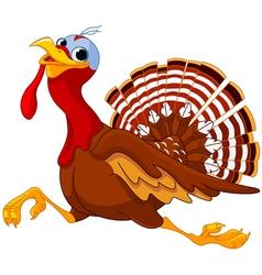 Running cartoon turkey vector