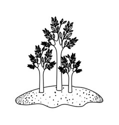 trees set in grassland in black sections vector image vector image