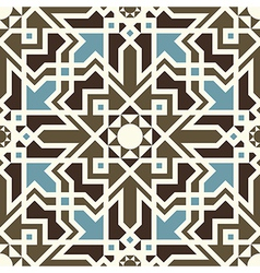 Arabesque seamless pattern in blue and brown vector image vector image