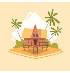 bungalow house icon summer sea vacation concept vector image
