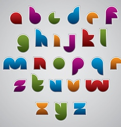 Colorful glossy geometric smooth comic font vector image