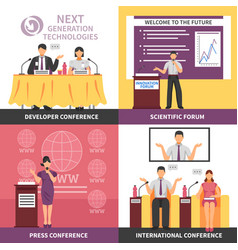 conference hall interior icon set vector image vector image