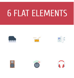 flat icons mp3 player knob audio box and other vector image