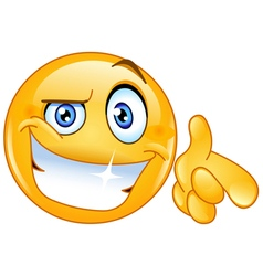cool emoticon pointing at you vector image