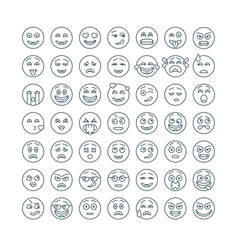 line flat emoticons set modern flat smileys icon vector image