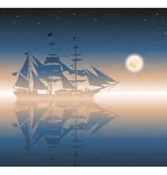 Old ship sailing the seas vector