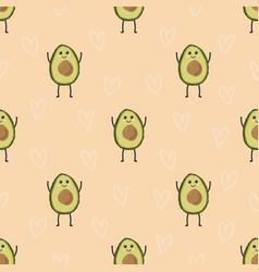 pattern with cartoon avocado vector image vector image