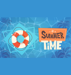 summer time vacation on sea life buoy in water vector image vector image