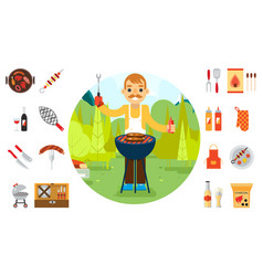 Barbecue man cook vacation food icons car vector