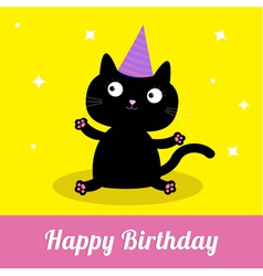 Cute cartoon black cat with hat Card vector image vector image