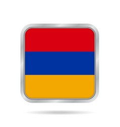 Flag of armenia shiny metallic gray square button vector