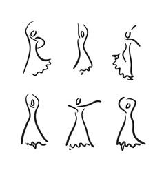 Flamenco dancer sketch set vector image vector image