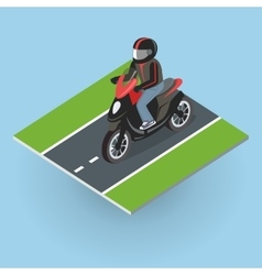 Motor bike on the road top view vector