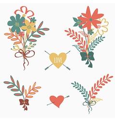 set of cute retro floral bouquets vector image
