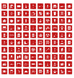 100 cleaning icons set grunge red vector image