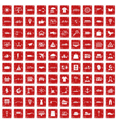 100 logistic and delivery icons set grunge red vector image